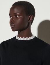 Pullover sottile con bordi in pizzo : Maglieria & Cardigan colore Nero