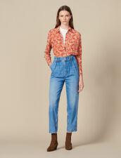 Jeans A Vita Alta Con Bottoni A Perla : Jeans colore Blue jeans
