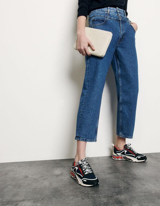 Jeans trompe l'œil linea mom : Jeans colore Blu