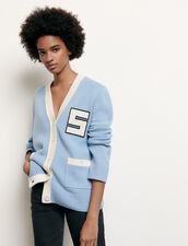 Cardigan in lana stile collegio : Maglieria & Cardigan colore Ciel