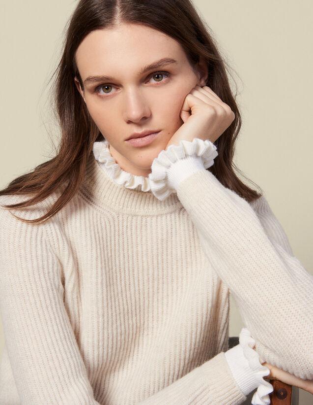Pullover con collo e polsini a contrasto : Maglieria & Cardigan colore Beige
