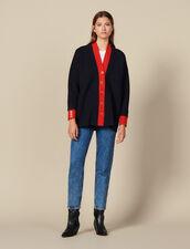 Cardigan-Cappotto Bicolore Sovrapposto : Maglieria & Cardigan colore Blu Marino