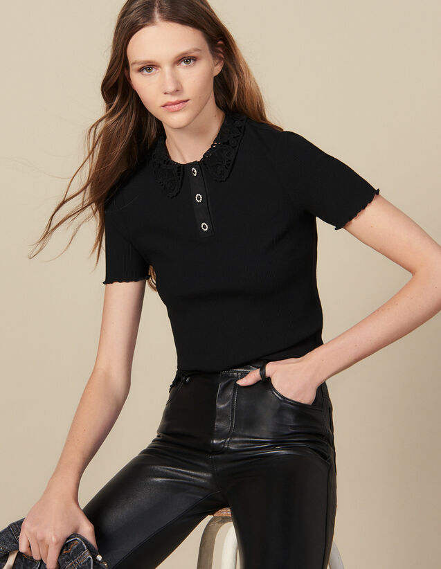 Polo côtelé à col en guipure : FBlackFriday-FR-FSelection-30 couleur Noir