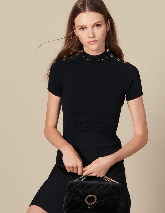 Robe en maille à col montant : Robes couleur Noir