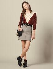 Pullover Con Scollo A V Effetto Pizzo : LastChance-ES-F40 colore Brown