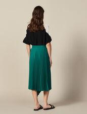 Gonna A Portafoglio Asimmetrica Plissé : Gonne & Short colore Verde