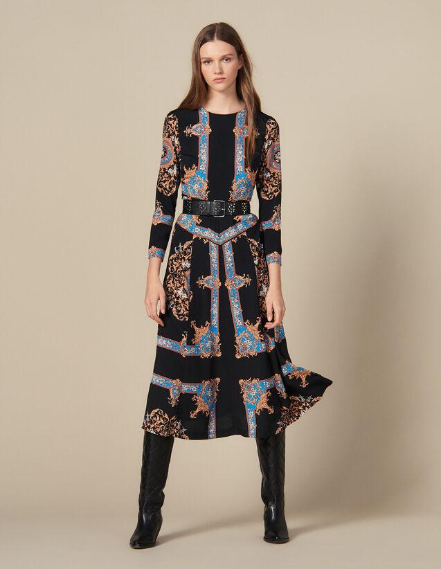 Robe longue à imprimé foulard placé : Robes couleur Noir