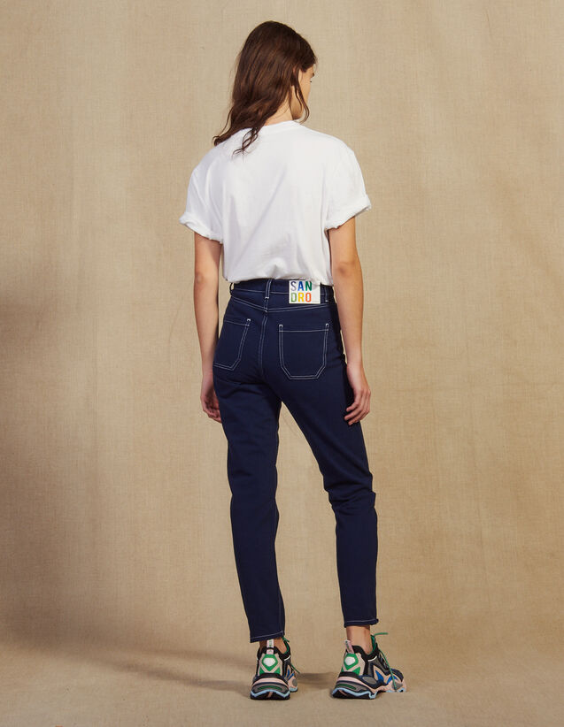 Jeans Con Cuciture A Contrasto : Jeans colore Blu Marino
