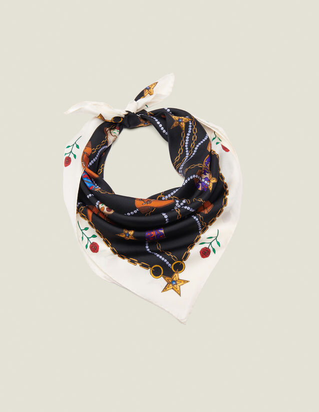 Foulard En Soie À Imprimé Santiag : Foulards & Écharpes couleur Noir
