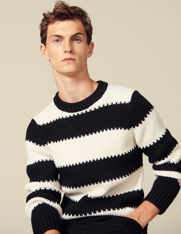 Pull à rayures en maille perlée : Pulls & Cardigans couleur Ecru/Noir
