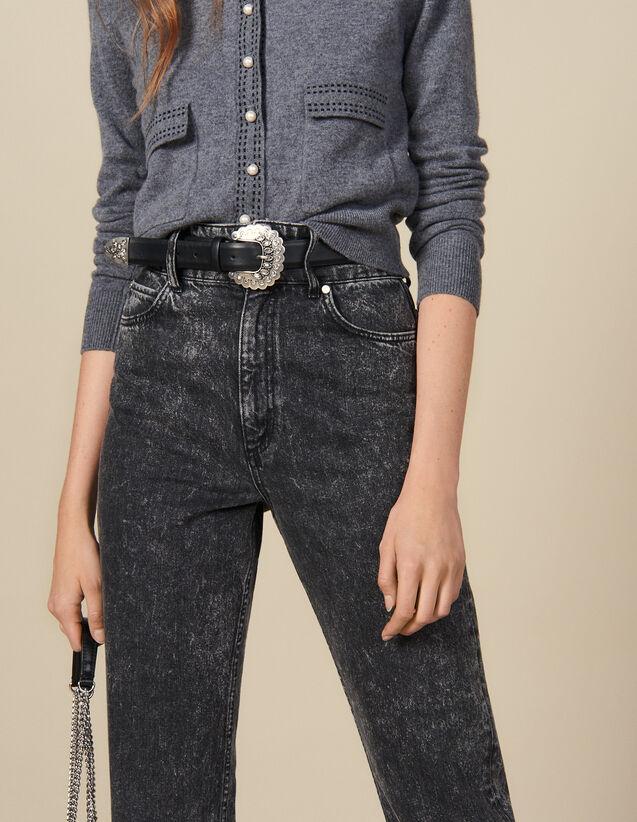 Cintura In Pelle Con Fibbia Lavorata : Cinture colore Nero
