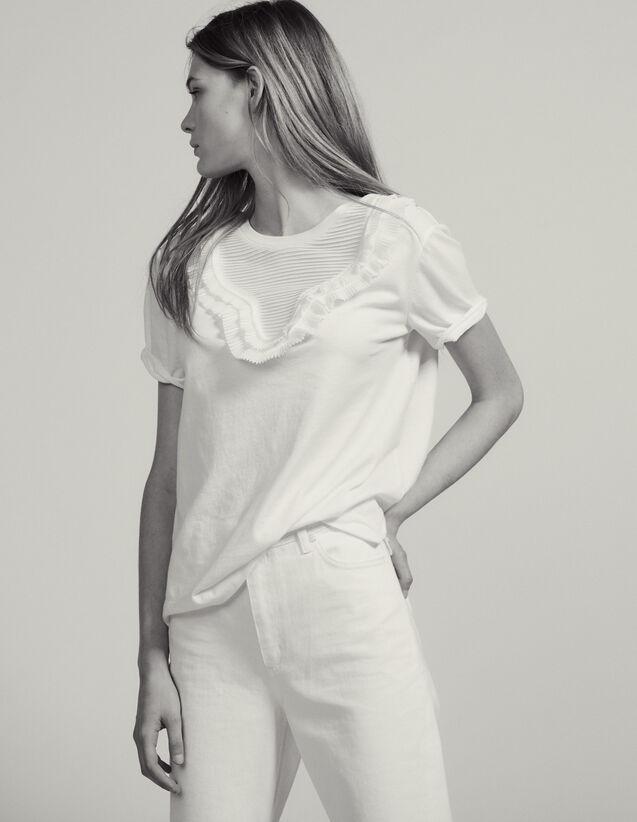 T-Shirt Con Pettino Plissettato : Magliette colore Bianco