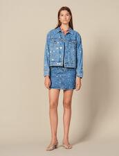 Giacca In Jeans Con Borchie : Giacche & Giubbotti colore Blue jeans