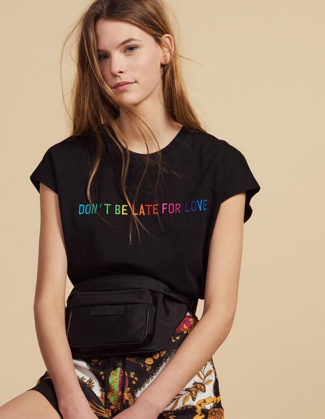 T-Shirt Con Scritta Ricamata In Cotone : Magliette colore Nero