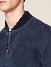 Giubbotto con zip in pelle scamosciata : Giubbotti & Giacche colore Blu Marino