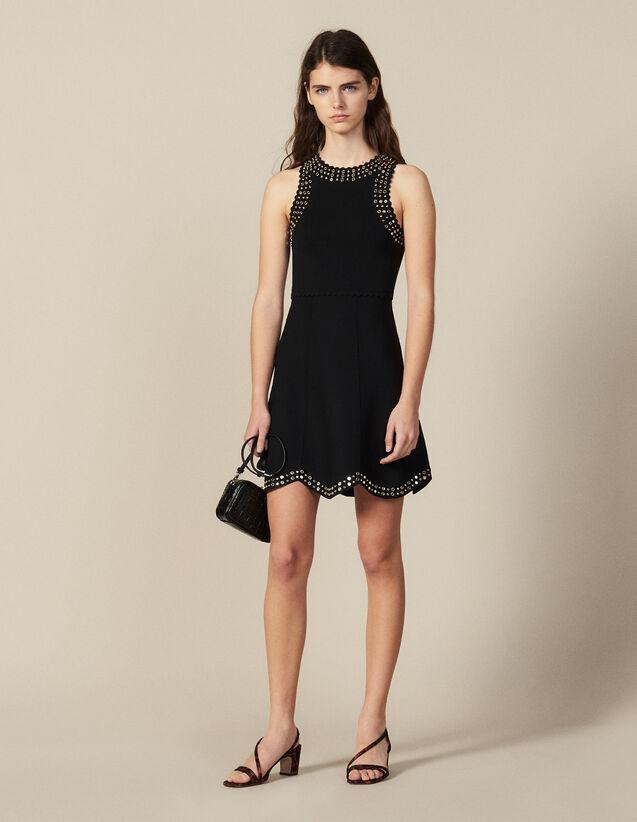 Robe Courte En Maille Ornée De Studs : Robes couleur Noir