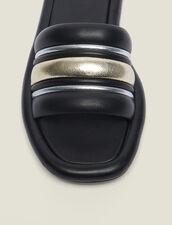 Mules Plates Mix Matières : null couleur Noir/or