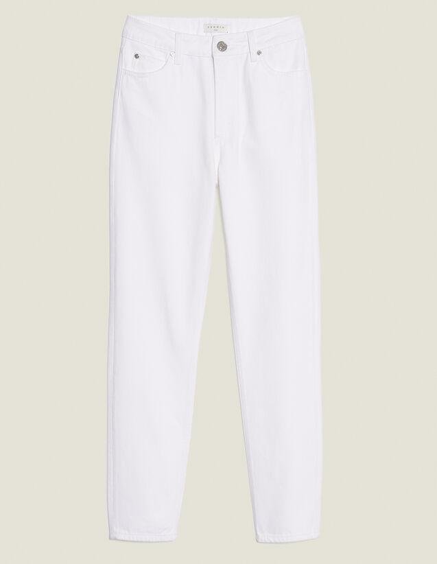 Jeans A Vita Alta Linea Dritta : Jeans colore Bianco