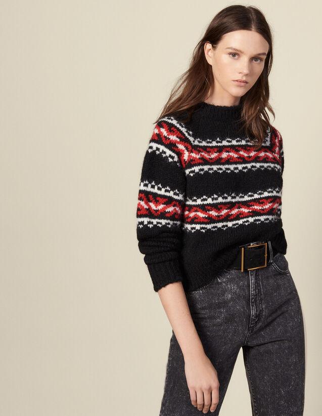 Pullover con motivo geometrico : Maglieria & Cardigan colore Rouge/Noir/Ecru