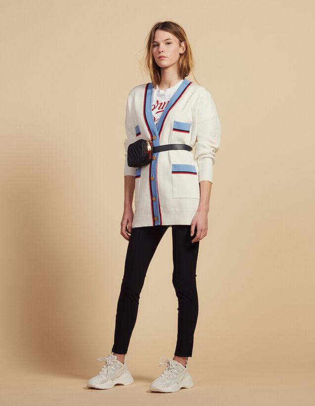 Cardigan Long Manches Longues : Pulls & Cardigans couleur Ecru