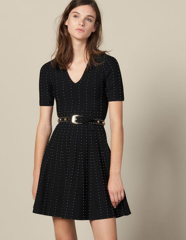 Robe En Maille Ornée De Petites Perles : FBlackFriday-FR-FSelection-Robes couleur Noir