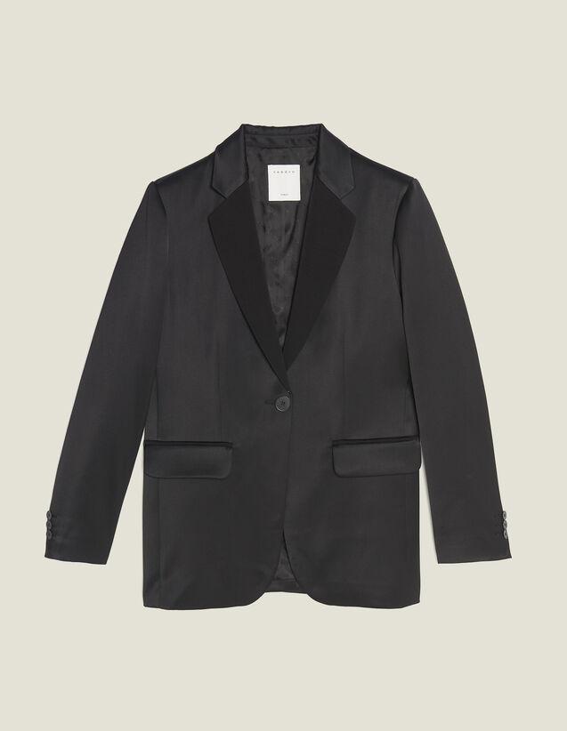 Giacca Da Tailleursatinata Coordinata : Giacche & Giubbotti colore Nero