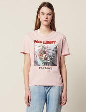 T-Shirt Con Scritta E Iconografia : null colore Rosa