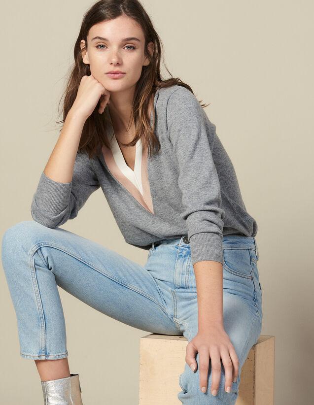 Pullover in maglia con decoro bicolore : Maglieria & Cardigan colore Grigio