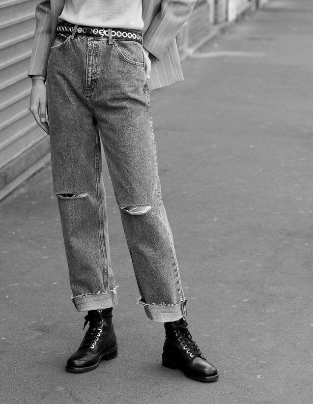 Jeans Linea Dritta A Vita Alta : Tutta la Selezione colore Blue Vintage - Denim