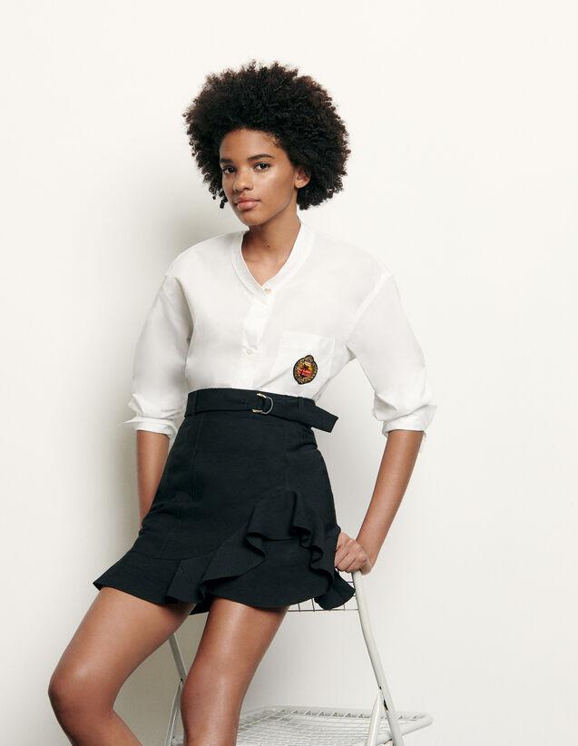 Camicia manica lunga collo alla coreana : Top & Camicie colore Bianco