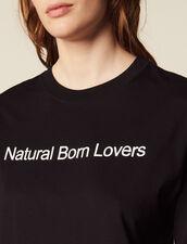 T-Shirt Oversize Con Scritta A Contrasto : null colore Nero