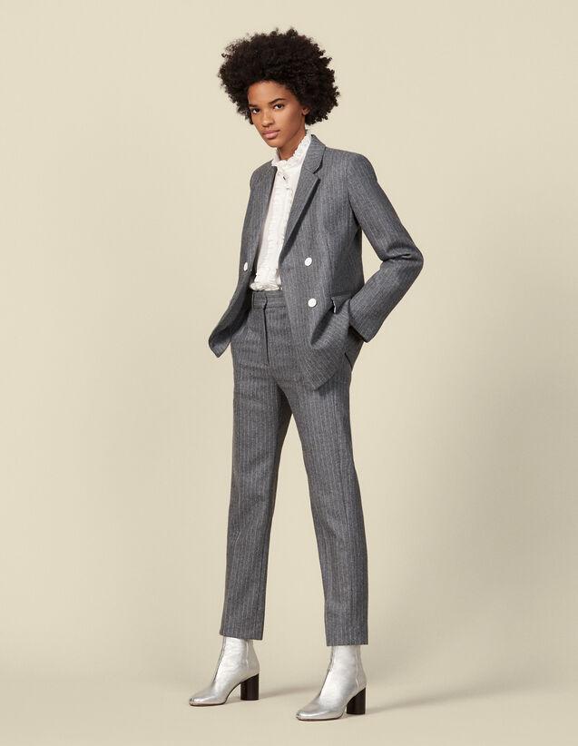 Pantaloni in flanella a righe gessate : Pantaloni colore Grigio
