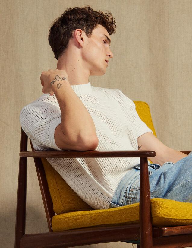 Pullover In Maglia Traforata : Maglioni & Cardigan colore Ecru