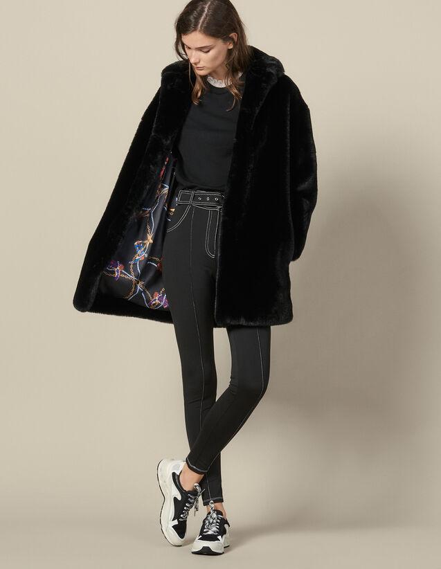 Cappotto Corto In Finta Pelliccia : Cappotti colore Nero