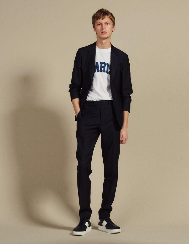 Pantaloni Da Completo In Lana Panama : SOLDES-CH-HSelection-PAP&ACCESS-2DEM colore Blu Marino