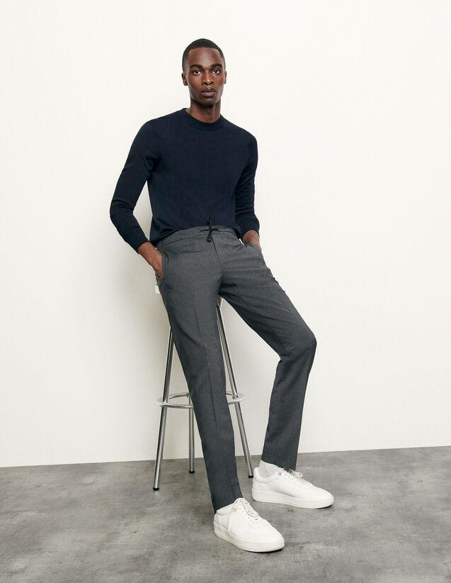 Pantaloni con elastico in vita : Pantaloni & Short colore Antracite Screziato