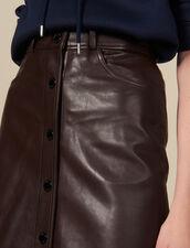 Gonna Midi In Pelle : Gonne & Short colore Marron
