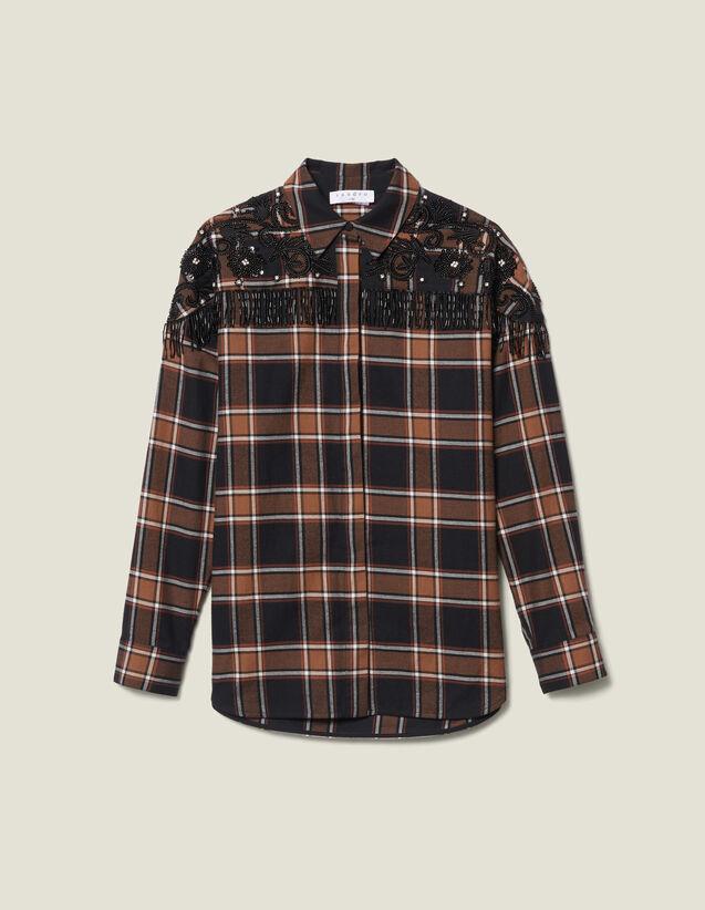 Camicia A Quadri Con Ricami Western : LastChance-ES-F40 colore Camel/noir