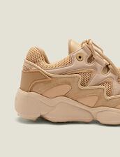 Baskets Mix Matières : Chaussures couleur Beige