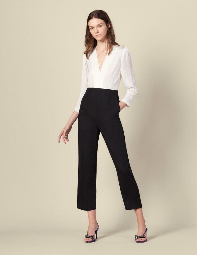 Tuta pantalone bimateriale : Tute colore Écru/Nero