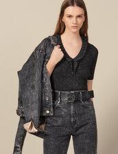 Pullover A Maniche Corte In Maglia Lurex : Top & Camicie colore Gun Metal