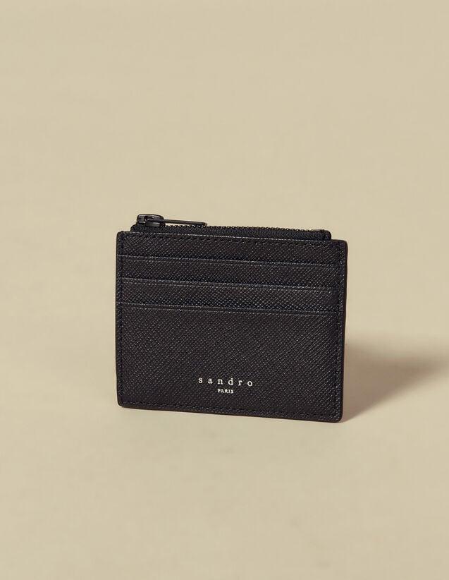 Porte-Cartes Zippé En Cuir Saffiano : Porte-cartes & Portefeuilles couleur Noir