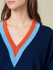 Pullover in maglia con decoro bicolore : LastChance-ES-F20 colore Blu Marino