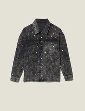 Chemise En Jean Ornée De Studs : LastChance-ES-F50 couleur Noir