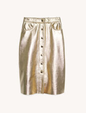 Gonna in pelle metallizzata : Gonne & Short colore Gold