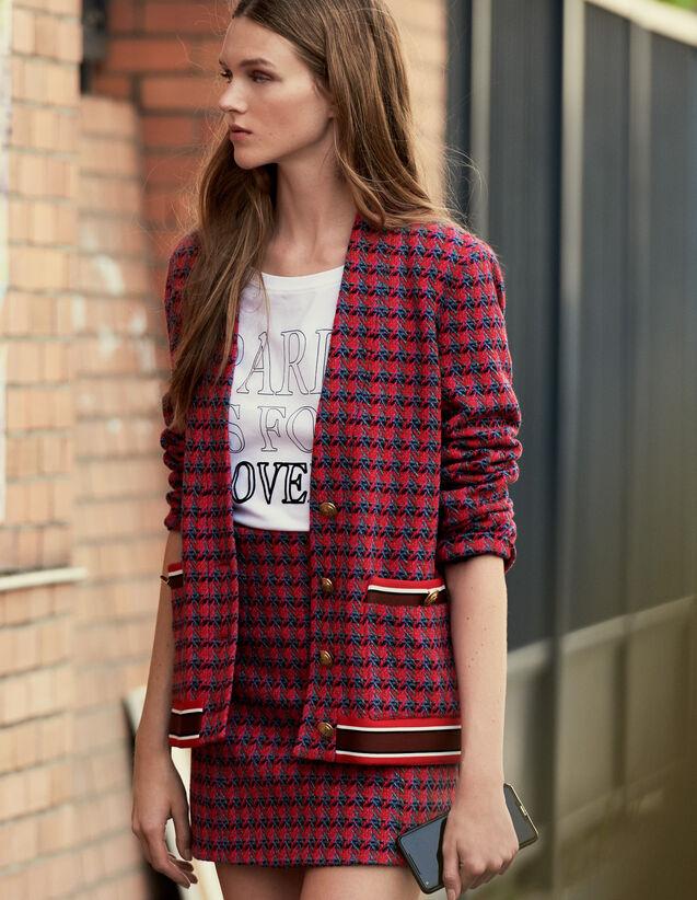 Cardigan-cappotto in tweed con bottoni : Giacche & Giubbotti colore Rosso