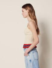 Top In Maglia Con Volant : Top & Camicie colore Beige