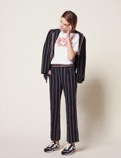 Pantaloni Con Righe A Contrasto : null colore Blu Marino