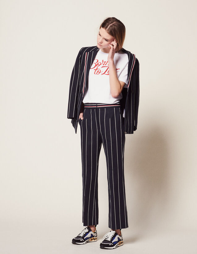 Pantalon À Rayures Contrastées : null couleur Marine