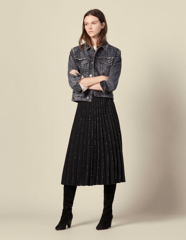 Gonne plissettata finiture con strass : Gonne & Short colore Nero